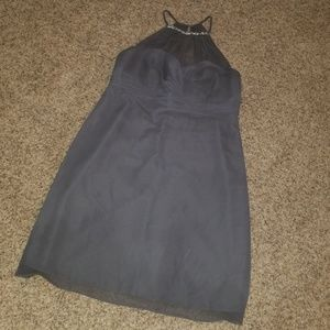 Silver high neck knee length dress